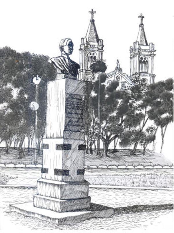 desenho da  Erma de Alceu Wamosy erigida na Praça Barão do Rio Branco- desenho do autor
